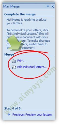 Gambar: Memilih  destinasi surat  mail merge di microsoft Word