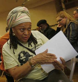 Pam Africa of MOVE and the International Concerned Family and Friends of Mumia Abu-Jamal at a meeting on April 11, 2009 in Philadelphia. His supporters will appeal to the Obama administration for relief. by Pan-African News Wire File Photos
