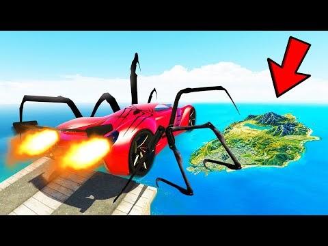 GTA 5: JUMPING SUPERHERO CARS ACROSS THE ENTIRE MAP in GTA V USING MEGA RAMP!