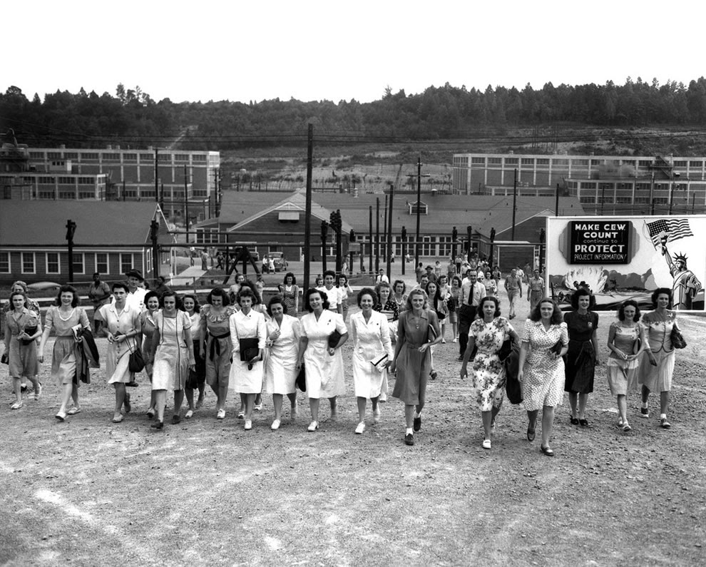 Shift change at Y-12 Oak Ridge Tennessee 8-11-1945, notice the security sign on the right
