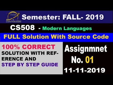 Solution of CS508 Assignment No. 1 2019 with Step by Step Guide and References