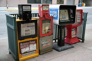 NY newspaper vending machines.