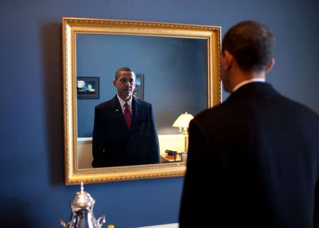 Barack Obama Looking Into A Mirror - Public Domain
