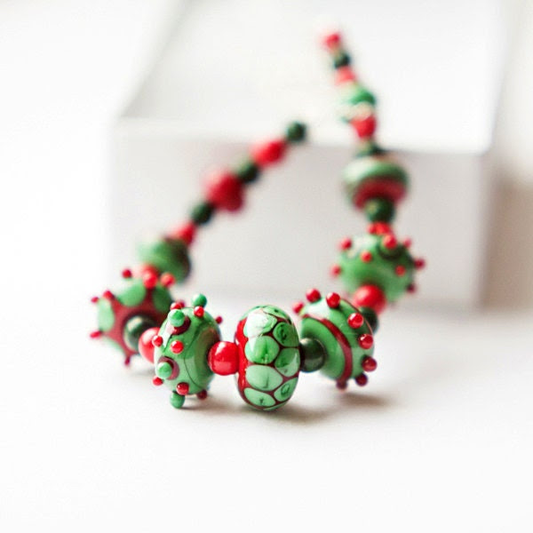 Christmas style red and green lampwork handmade glass, coral and malachite statement necklace, OOAK
