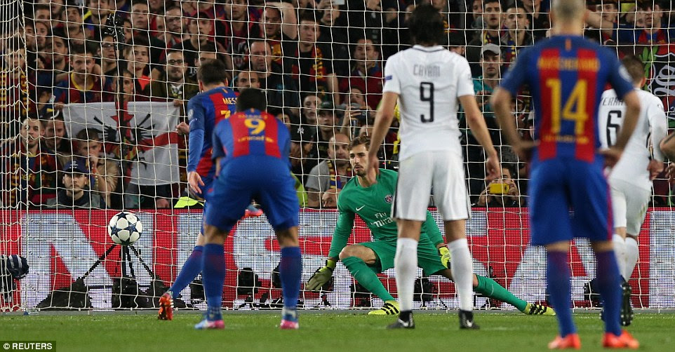 Lionel Messi powers home from the penalty spot to put Barcelona within one goal of drawing level on aggregate