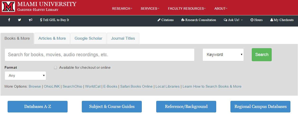 screenshot image of Gardner-Harvey Library search options from website