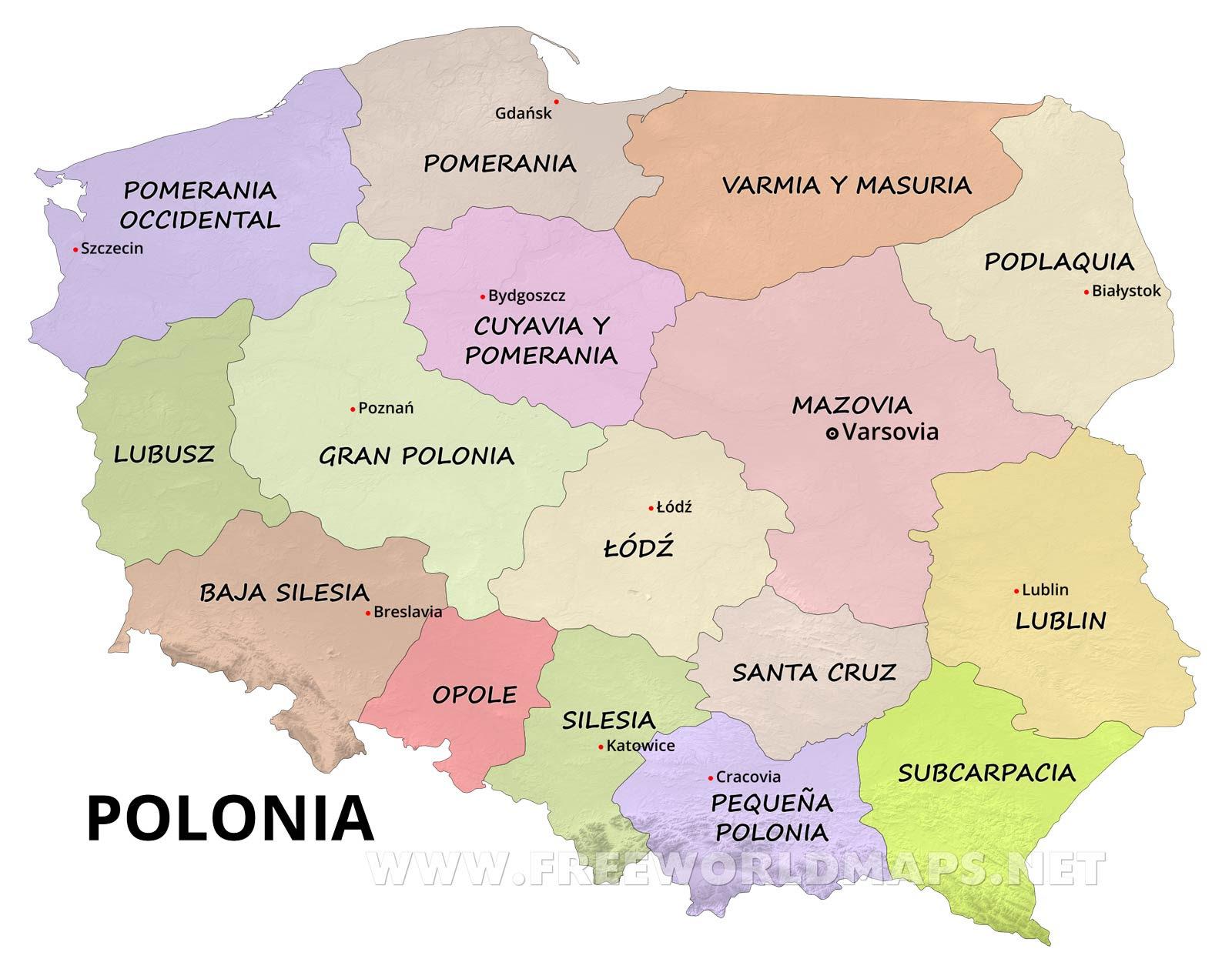 Resultado de imagen de polonia mapa