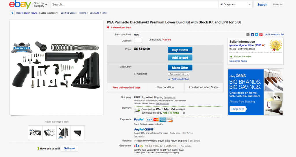 """EBay policy bans the sale of """"parts or accessories for assault weapons,"""" but Reveal identified hundreds of parts available in an extensive search of listings."""