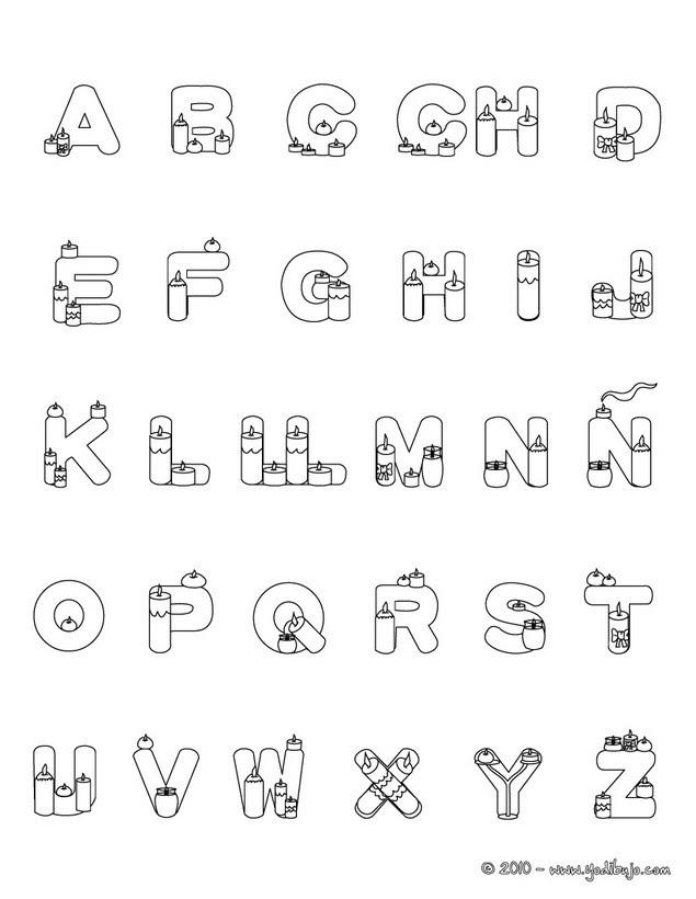 Dibujos Para Colorear Letras Velas Eshellokidscom