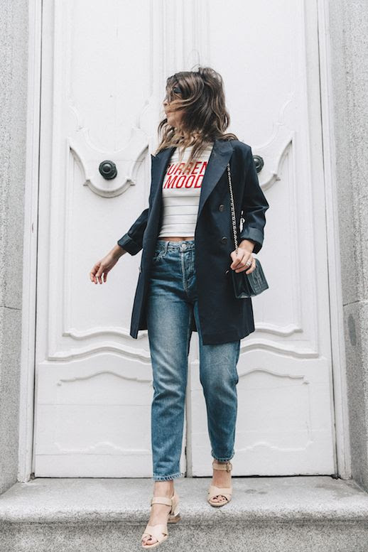 Le Fashion Blog Blazer Jacket Striped T Shirt Vintage Jeans Heeled Sandals Via Collage Vintage