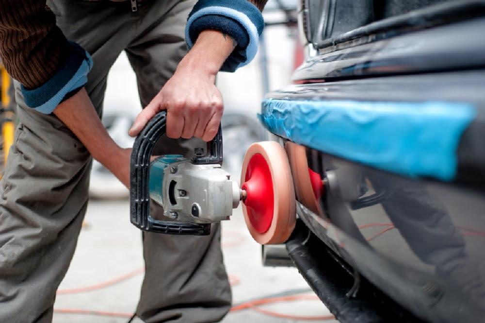 polishing the car