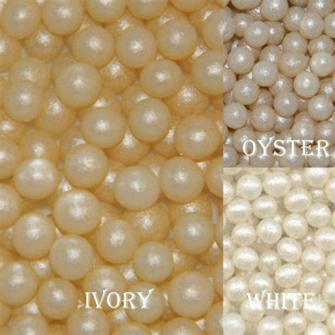 mm fondant sugar pearls white  ivory edible cupcake