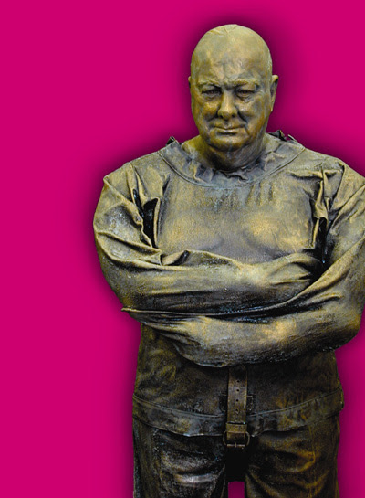 Statue of Churchill in a straitjacket