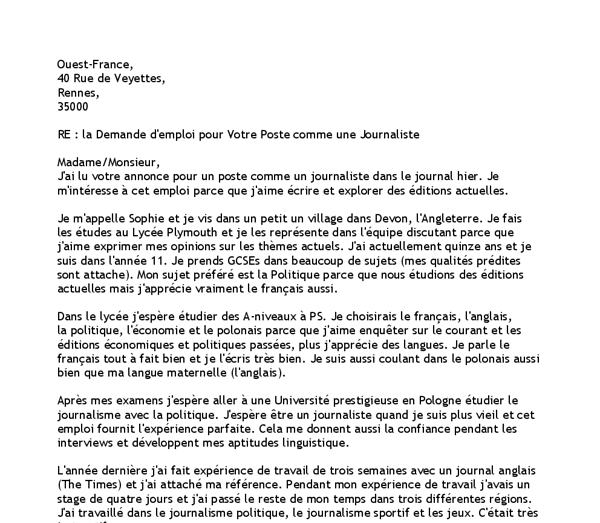 Job Application Letter In French Job Application Letter