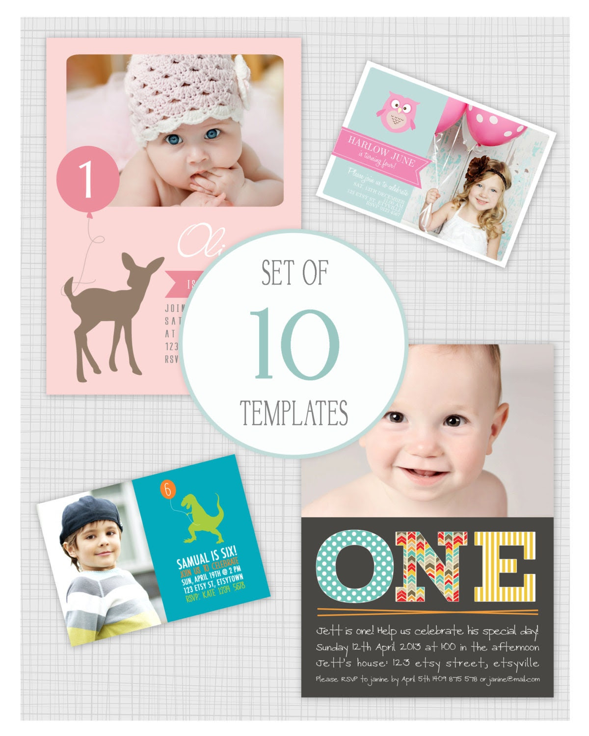 INSTANT DOWNLOAD: 10 PSD kids birthday party invitation templates ...