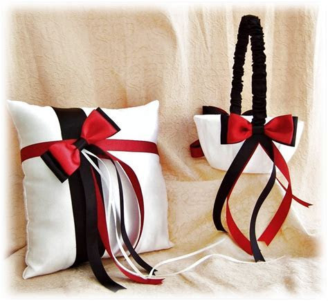 Red and Black Wedding Flower Girl Basket Ring Bearer