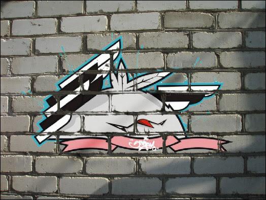Graffiti on the brick wall