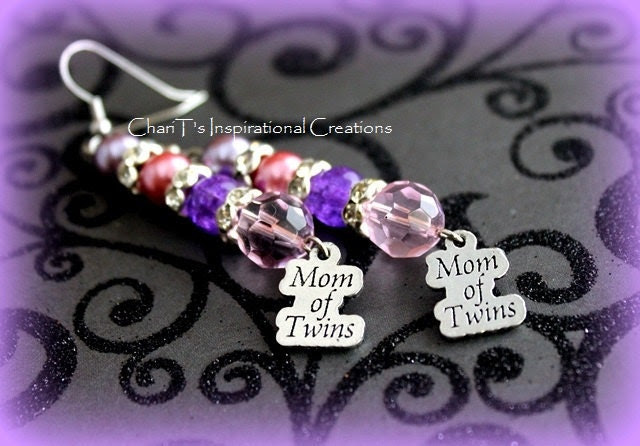 Pink and Purple Mom of Twins Earrings