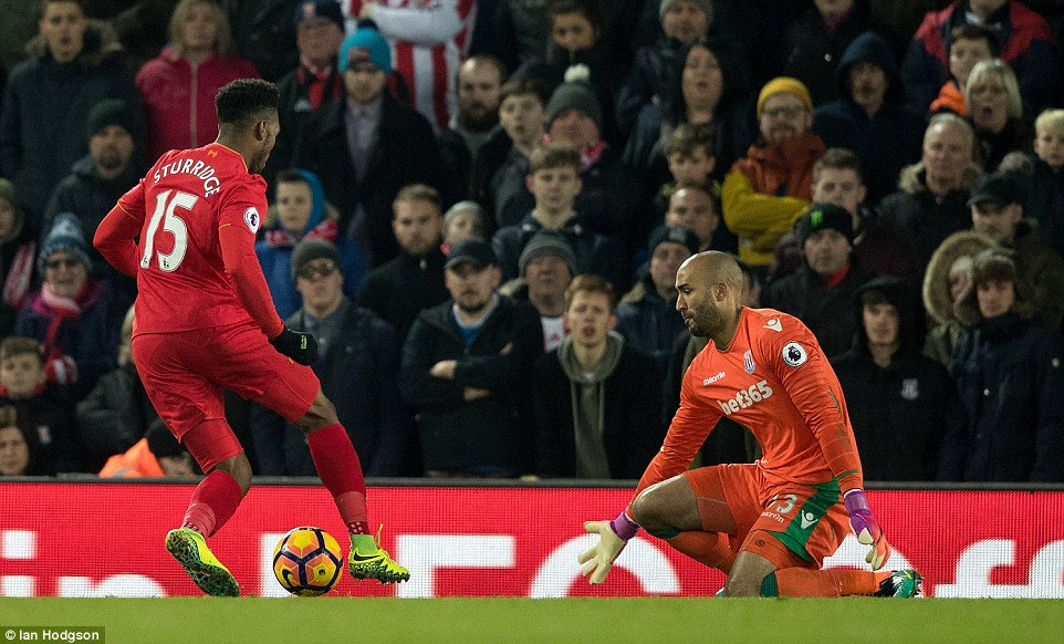 Sturridge rounded goalkeeper Lee Grant in the Stoke goal after receiving the ball following a loose pass by Ryan Shawcross