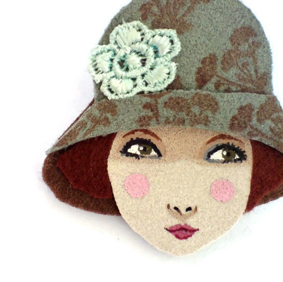 Fabric brooch - Joy, Floral cloche hat girl, Autumn, pale sage, copper, wearable art