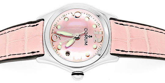 Original-Foto 1, CORUM BUBBLE MEDIUM PERLMUTT ROSA STAHLUHR