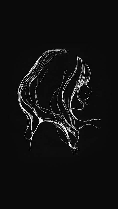 az drawing simple minimal girl illustration art dark