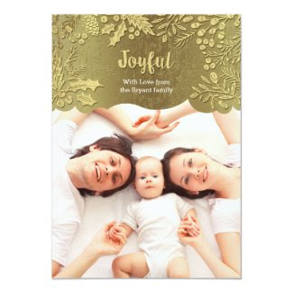 Golden Leaves Holiday Photo Card