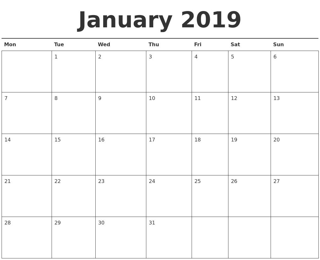 january 2019 calendar printable monday start