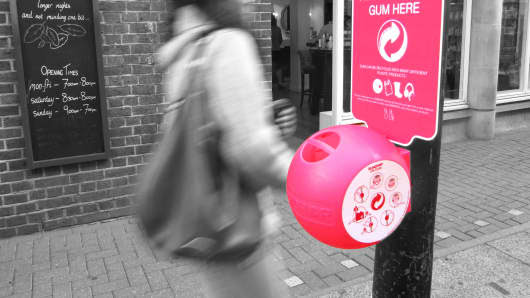 A Gumdrop bin, made from recycled chewing gum, on a high street