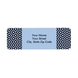 Light Blue And Black Meander return address labels