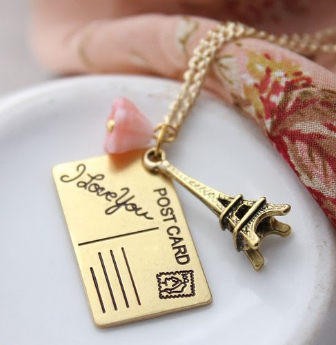 Eiffel Tower, I love You Postcard, jewelry, necklace, Parisian, French, gold, rose, pink