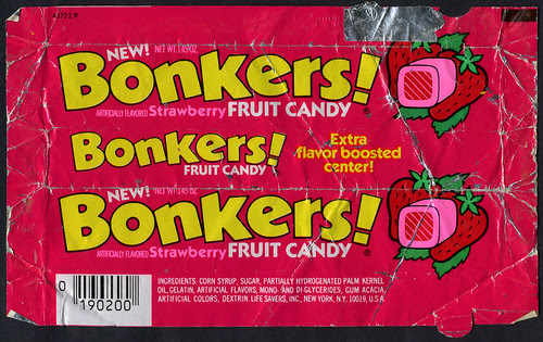 Life Savers, Inc - Bonkers! strawberry  fruit candy package wrapper - 1984