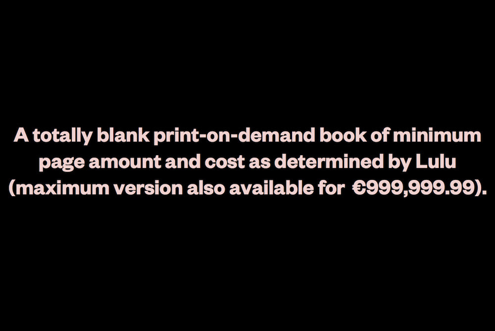 Lorusso, Silvio and Giulia Ciliberto. Blank on Demand (minimum edition). PoD, 2012, 40 pages.