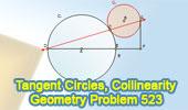 Problem 523: Tangent Circles, Diameter Perpendicular, Collinearity
