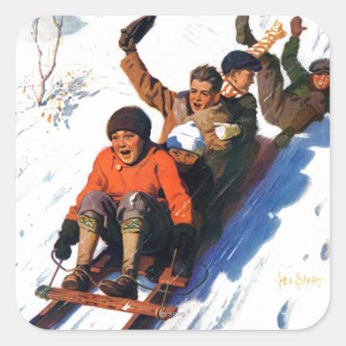 Boys Tobogganing | Winter Fun Sticker