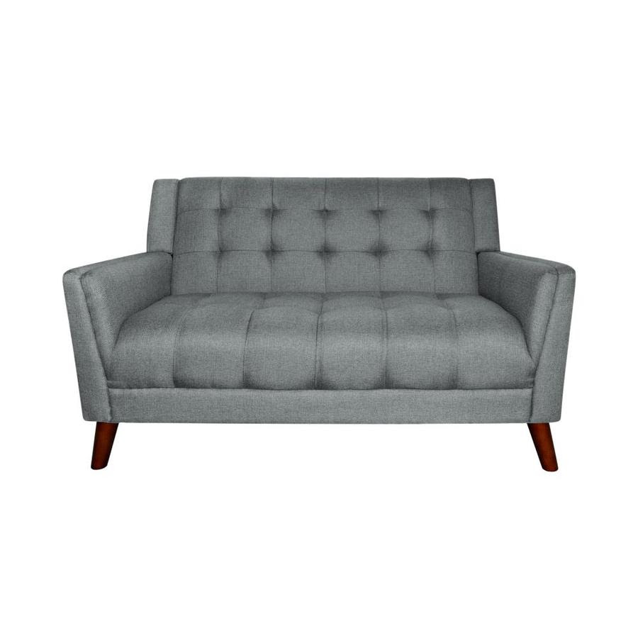 Best Selling Home Decor Candace Mid Century Modern Fabric Loveseat Dark Gray In The Couches Sofas Loveseats Department At Lowes Com