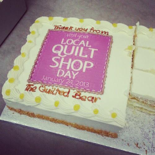 #localquiltshopday cake AND fabric!  Thanks @matthewwheeler!