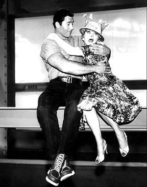 Publicity photo of Lucille Ball and Clint Walk...