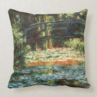 Bridge Over The Water Lily Pond by Claude Monet throwpillow