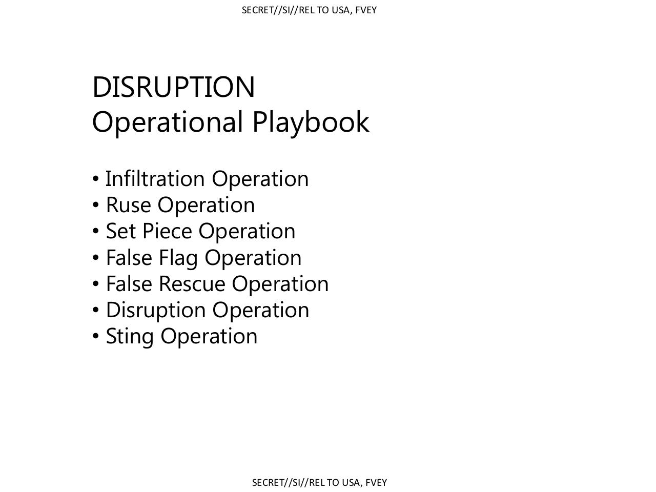 Ruptura:  Cartilha Operacional  - Operação de Infiltração  - Operação de Enganação  - Operação de Falsa Bandeira  - Operação de Falso Salvamento  - Operação de Ruptura  - Operação Sting (operação onde normalmente um agente infiltrado adquiri a confiança)