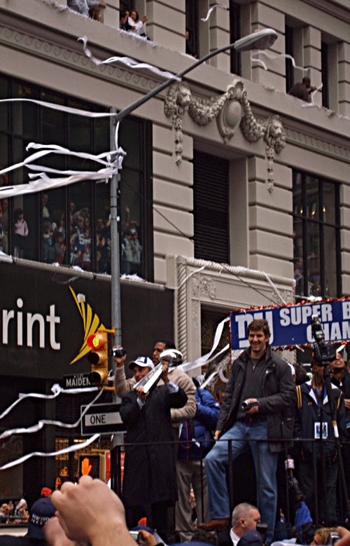 Mayor Bloomberg holds the Super Bowl trophy on a float with Eli Manning, Giants Victory Parade, Manhattan