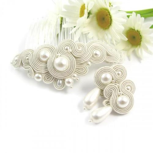 Delikatny komplet ślubny sutasz ivory z perłami