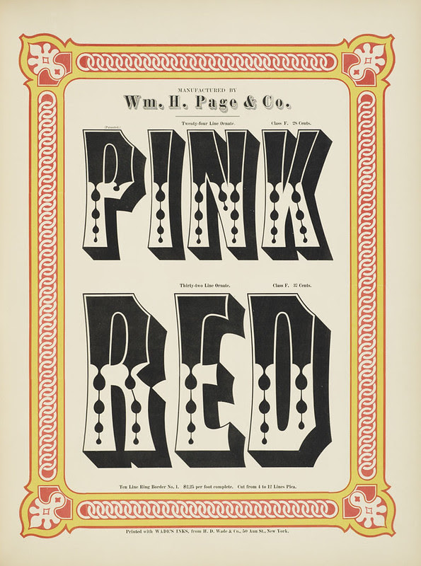 Specimens of chromatic wood type, borders 1874 - [via Columbia U] (Pink + Red) Ornamented type