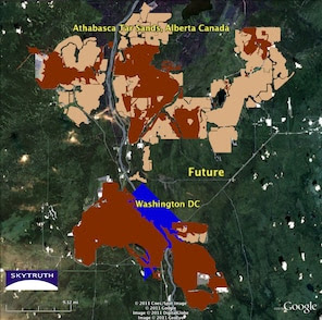 Satellite imagery shows the extent of tar sands mining in Alberta, Canada, as of 1999, relative to the area of Washington, D.C.