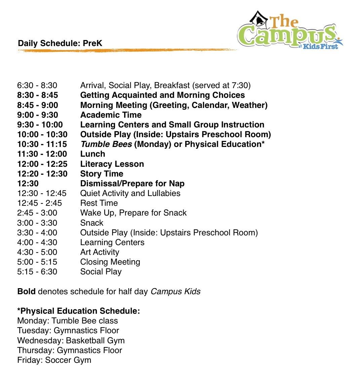 Pre K Daily Schedule