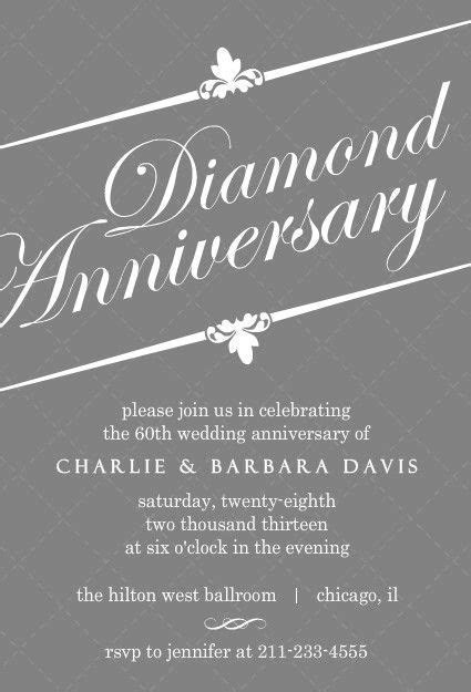 Elegant Gray Diamond 60th Anniversary Invitation   60th
