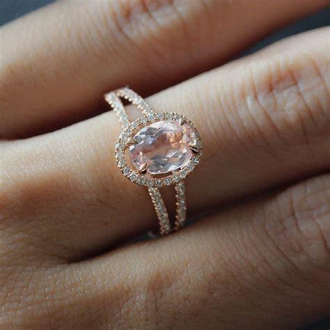 6X8mm Oval Morganite Ring 14K Rose Gold Split Band Diamond