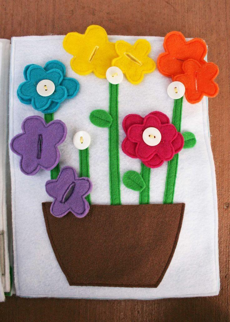 Felt Tranquillo Book - La pagina idea (amare la corrispondenza dei colori, ma utilizzare i pulsanti colorati per indicare dove ogni fiore colorato va)