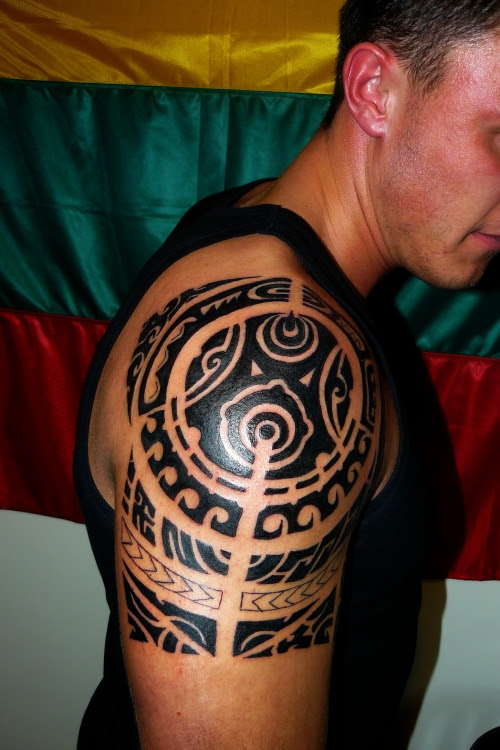 Tumblr Tribal Shoulder Tattoo For Men 2015