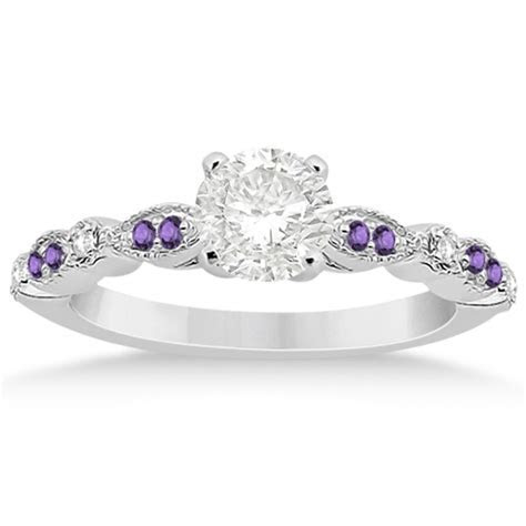 Marquise & Dot Diamond Amethyst Engagement Ring 14k White